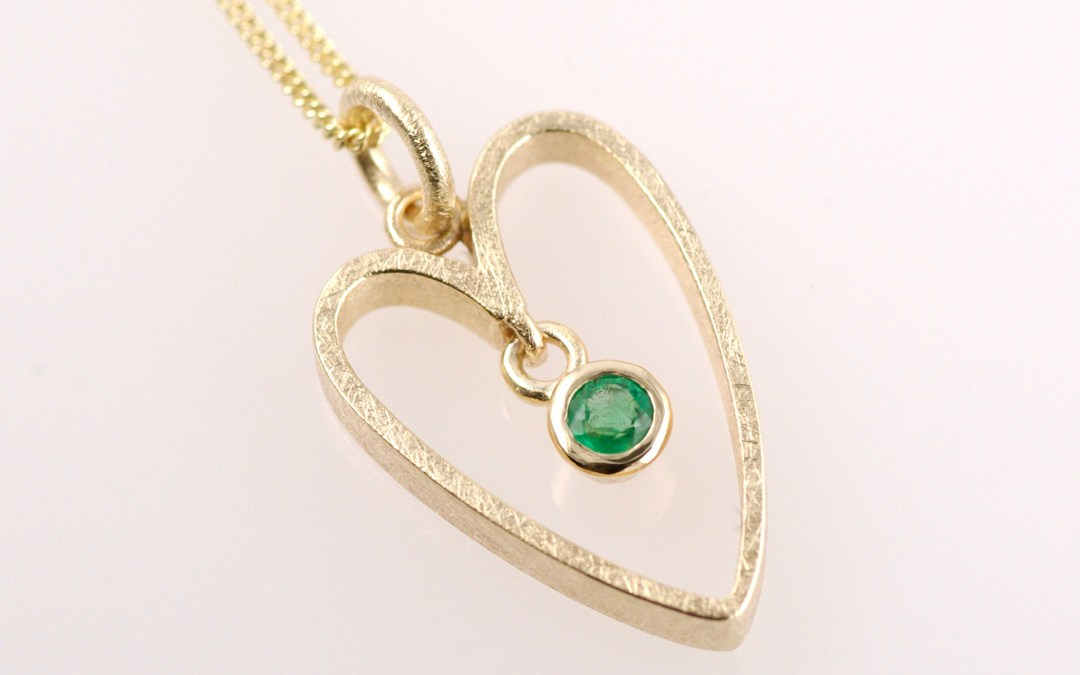 Frances Emerald & Gold Heart Pendant