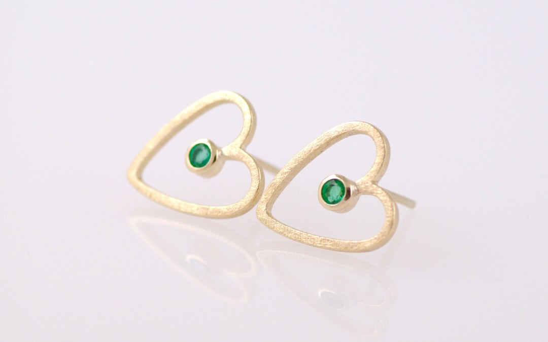 Frances Emerald & Gold Heart Studs