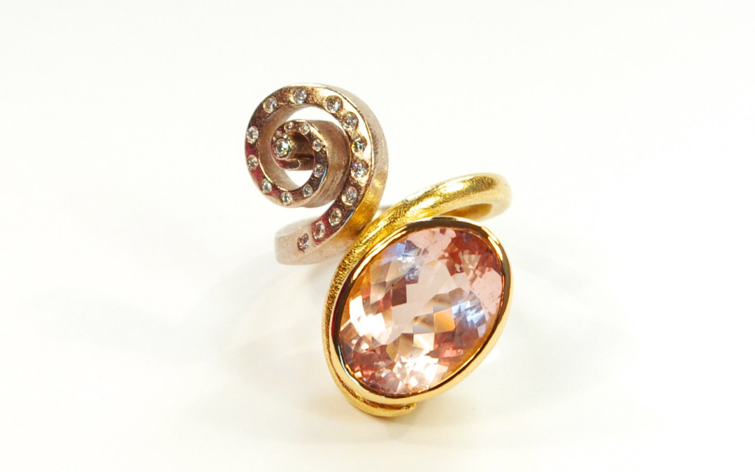 Kathryn's Morganite Ring With Swirl Detail In Gold With Diamonds