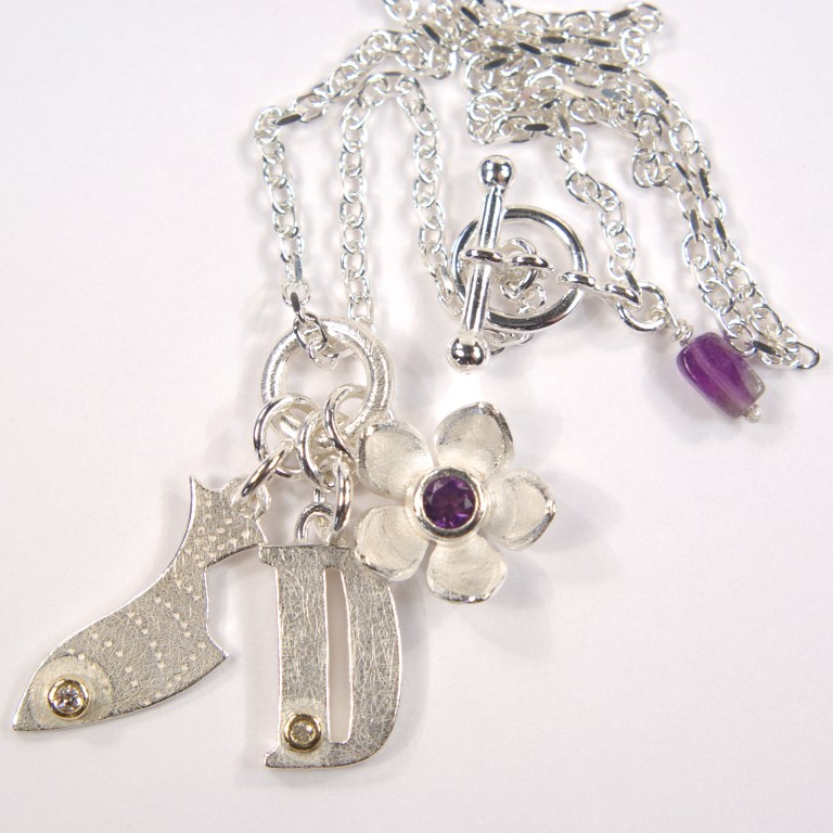 Silver Baby 'Fishy' Charm Necklace With Initial & Flower