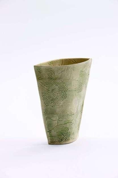 Impressed Bouquet Vase - green