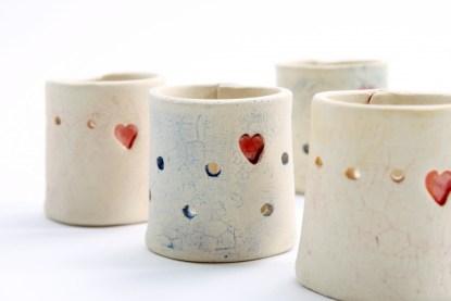 irish pottery tea light candle holder