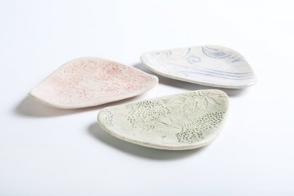 handmade dessert plates in three colours