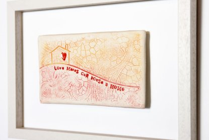red framed tile - Love Makes Our House A Home