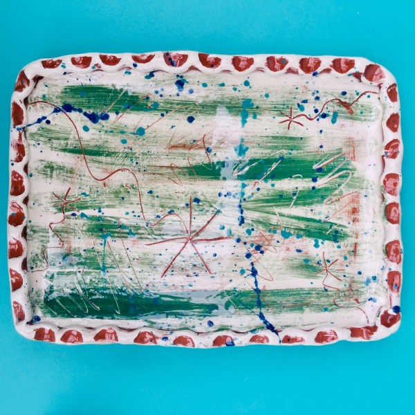 rectangular press molded tea tray with sgraffito in brushed green made by sarah monk