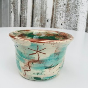 little slipware sugar bowl in teal by sarah monk ceramics with daisy sgrafitto