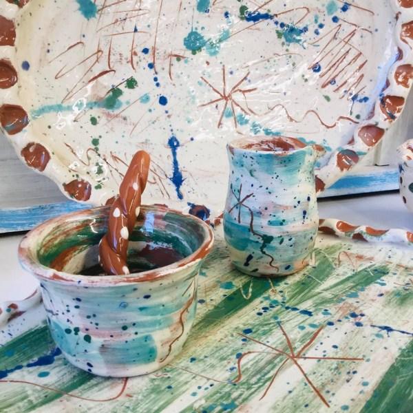 slipware sgraffito designsup close on a group by sarah monk ceramics