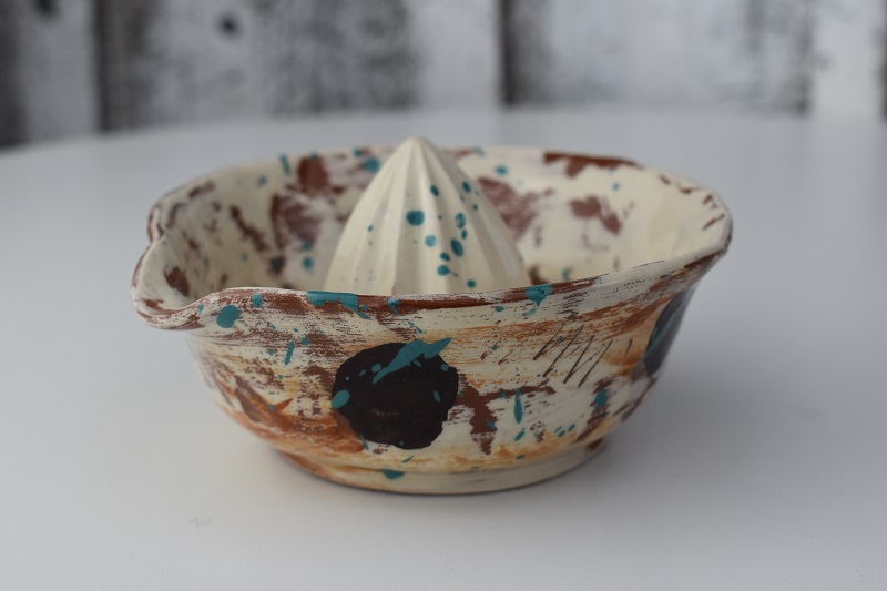 lemon squeezer with brown dots by sarah monk ceramics