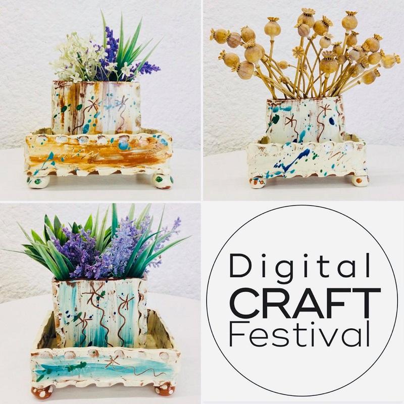 slipware slab built mini planters with trays x3 by sarah monk ceramics with dcf logo