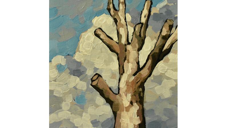 snag tree clouds high park toronto painting