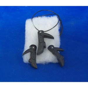 Argillite Hummingbird Pendant & Earrings Set by Alfred Daviedson 3rd
