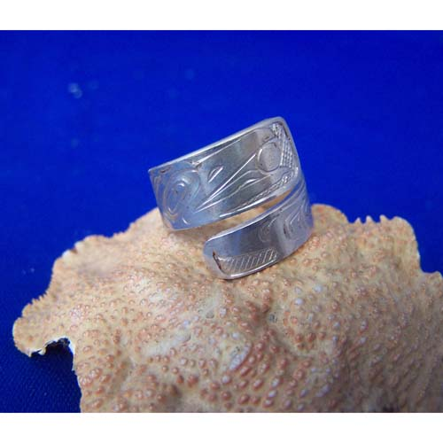 Silver Raven Moon Wrap Ring by Chris Russ