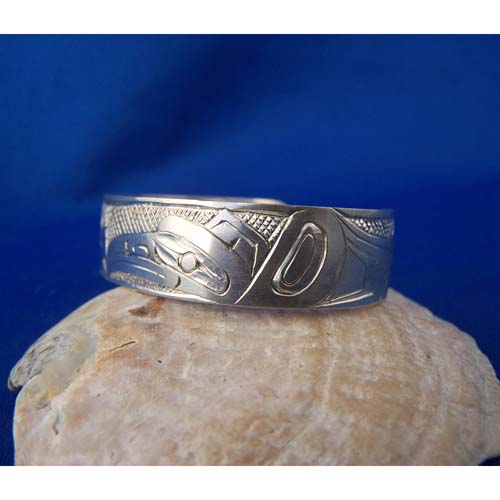 Silver Raven & Killer Whale Youth Bracelet by Cooper Wilson
