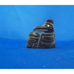 Argillite Raven Sculpture by Cooper Wilosn