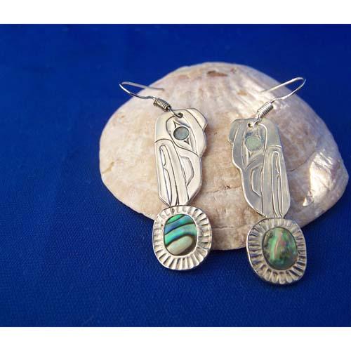 Silver Raven Moon Earrings by Derek White
