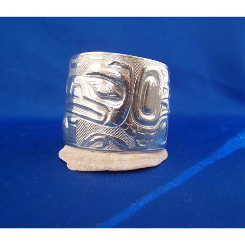 Silver Raven Moon Bent Box Bracelet by Derek White