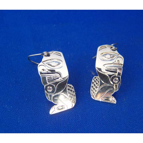 Silver Beaver Earrings by Derek White