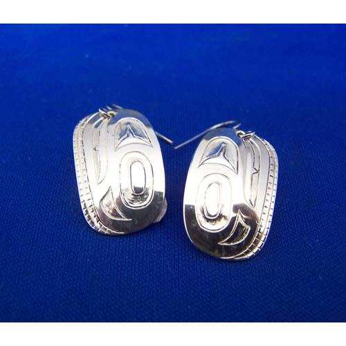 Silver Trout Head Earrings by Derek White