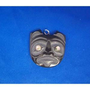 Argillite Bear Face Pendant by Myles Edgars