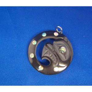 Argillite Bear in Moon Pendant by Myles Edgars