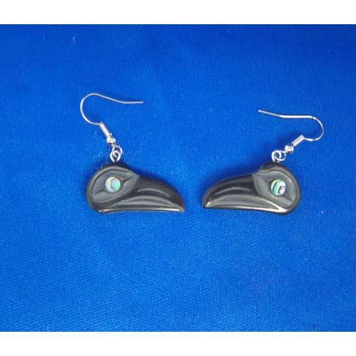Argillite Raven Earrings by Myles Edgars