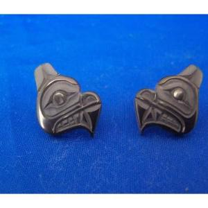 Argillite Bear Stud Earrings by Myles Edgars