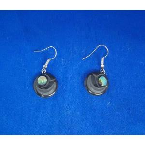 Argillite Salmon Egg Earrings by Myles Edgars