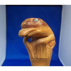 Yew Wood Frog Walking Cane by Sean Brennan