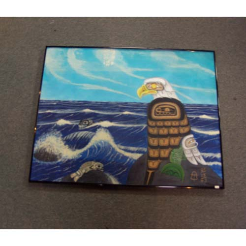 Original Acrylic Eagle Whales and Seas by Theodore Bell