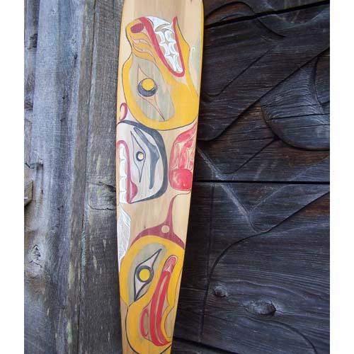 Red Cedar Paddle Eagle & Wolf by Wayne Edenshaw
