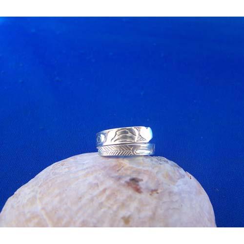 Silver Eagle Heart Wrap Ring by Carmen Goertzen
