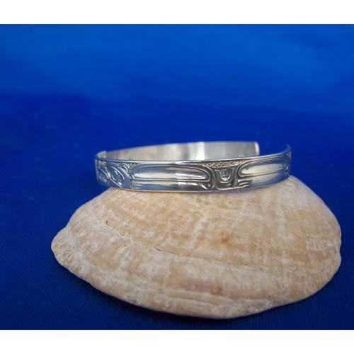 Silver Eagle Wolf Side View bracelet by Carmen Goertzen