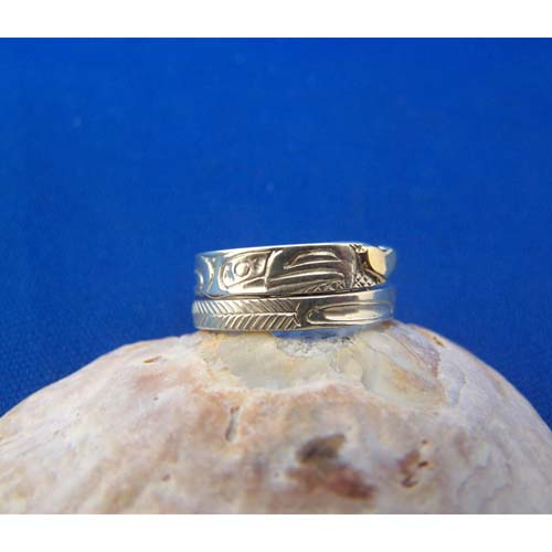 Silver Eagle with Gold Heart Ring by Carmen Goertzen