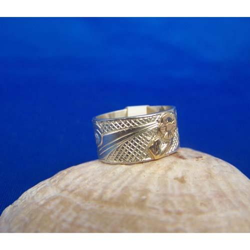 Silver Hummingbird with Gold Flowers Ring by Carmen Goertzen