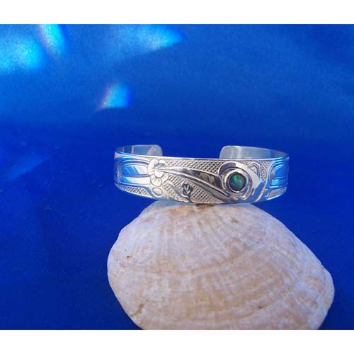 Silver Hummingbird with abalone inlay Bracelet by Carmen Goertzen