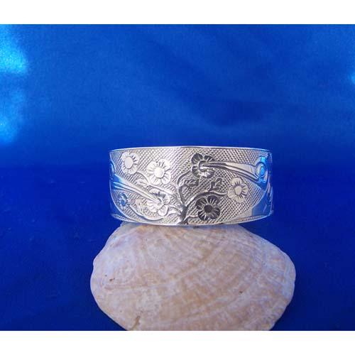 Silver One Inch Hummingbirds Bracelet by Carmen Goertzen