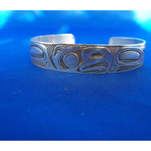 Silver Oxidized Eagle Bracelet by Carmen Goertzen