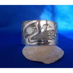 Silver Raven Moon Oxicized Bracelet by Carmen Goertzen