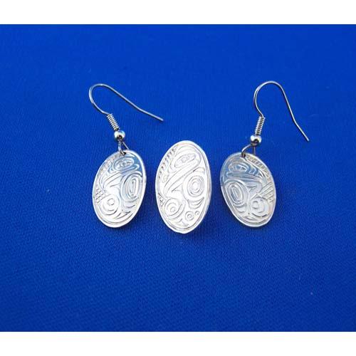 Silver Raven Pendant & Earring Set by Neil Goertzen