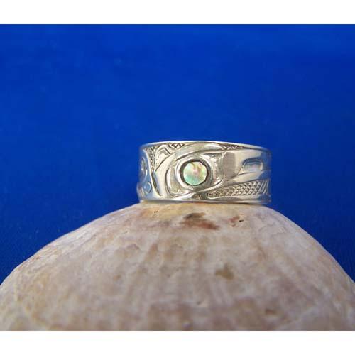Silver Ravaen with Abalone eye Ring by Carmen Goertzen