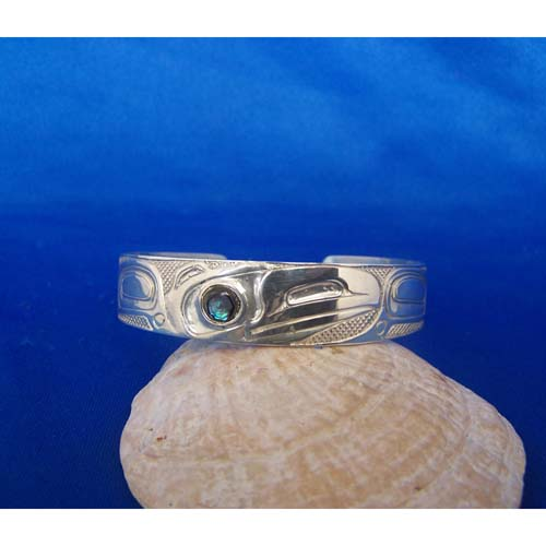 Silver Raven with abalone eyr Bracelet by Carmen Goertzen