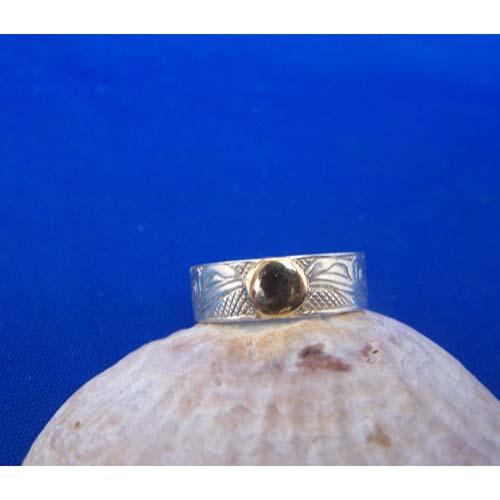 Silver Raven with gold Moon Ring by Carmen Goertzen
