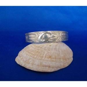 Silver Wolf Bracelet Carved by Carmen Goertzen