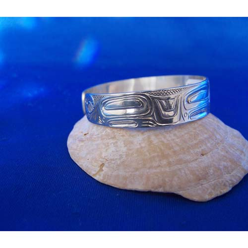 Silver Wolf Side View Bracelet by Camen Goertzen
