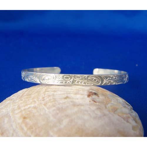 Silver Wolf Whale Bracelet by Neil Goertzen
