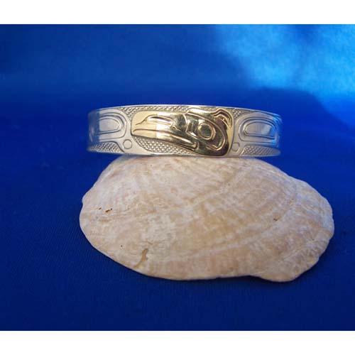 Silver wigh Gold Raven Bracelet by Carmen Goertzen