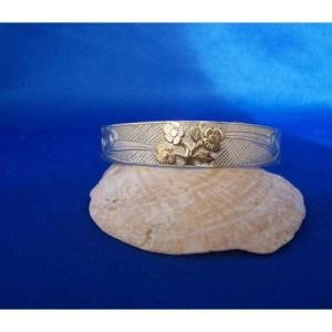 Silver Hummingbird with Gold flowers Bracelet by Carmen Goertzen