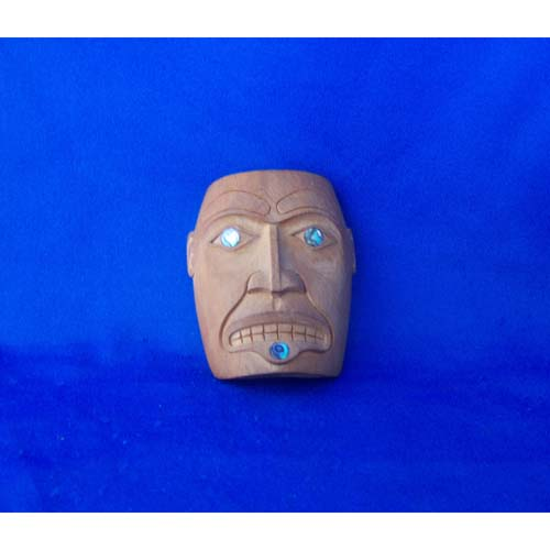 Yew wood Woman Mask Pendant by Leon Ridley