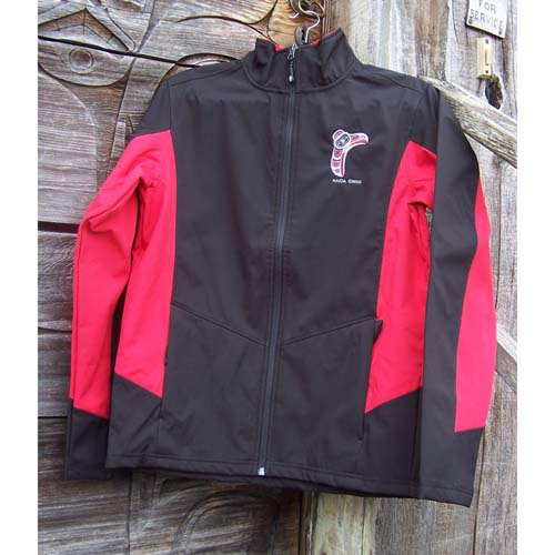 Red & Black Jacke front view by Cooper Wilson