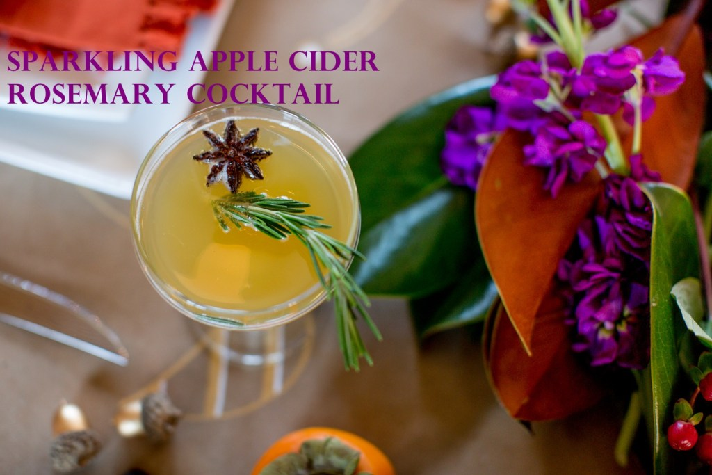 Sparkling Apple Cider Rosemary Cocktail Sarah Sofia Productions
